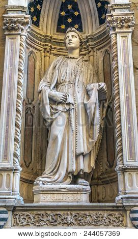 Saint Philip Statue Chiesa Museum Orsanmichele Church Florence Italy. Statue By Nanni Di Banco In 14