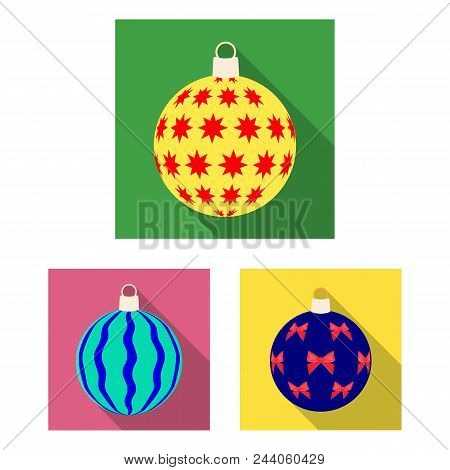 Balls For Decoration Flat Icons In Set Collection For Design.christmas Balls Vector Symbol Stock  Il