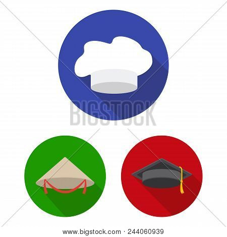 Different Kinds Of Hats Flat Icons In Set Collection For Design.headdress Vector Symbol Stock  Illus
