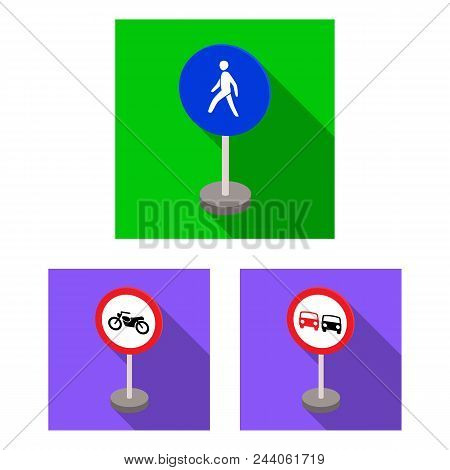 Different Types Of Road Signs Flat Icons In Set Collection For Design. Warning And Prohibition Signs