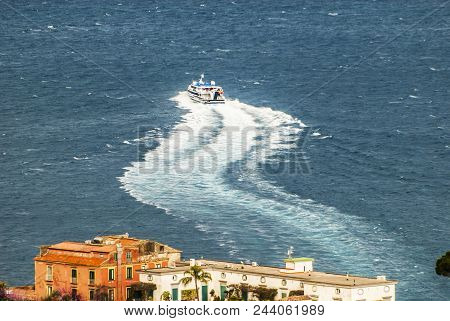 Sorrento, Amalfi coast, Boat leaving the port, landscape, view from the coast,  Italy, Campania, Europe