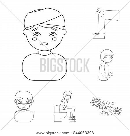 The Sick Man Outline Icons In Set Collection For Design.illness And Treatment Vector Symbol Stock  I