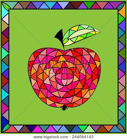 Abstract Colored Background Image Of Apple Consisting Of Lines And Figures