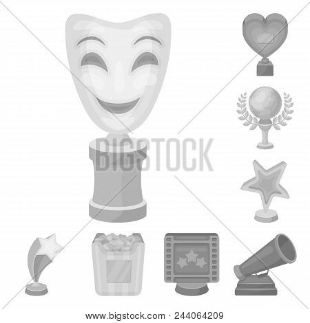 Film Awards And Prizes Monochrome Icons In Set Collection For Design. The World Film Academy Vector