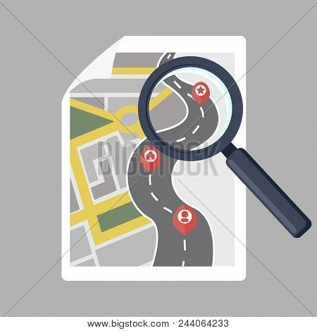 Map And Magnifying Glass. White Bill And Magnifier. Modern Flat Design Concept. Vector Illustration