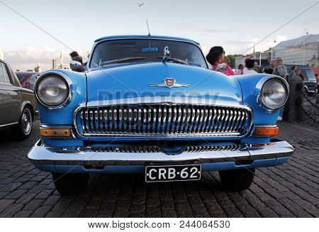 Helsinki, Finland - August 4, 2017: Helsinki Cruising Night (retro Cars Show) On Kauppatori Square.