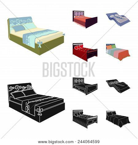 Different Beds Cartoon, Black Icons In Set Collection For Design. Furniture For Sleeping Vector Isom