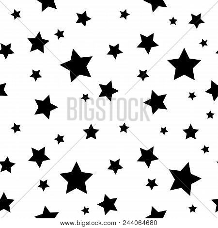 Star Seamless Pattern. Black Stars On White Retro Background. Chaotic Elements. Abstract Geometric S
