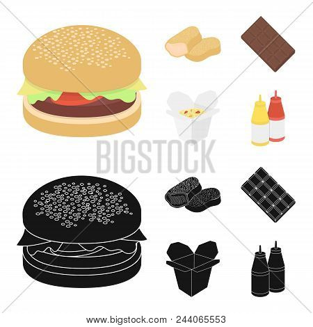 Chocolate, Noodles, Nuggets, Sauce.fast Food Set Collection Icons In Cartoon, Black Style Vector Sym