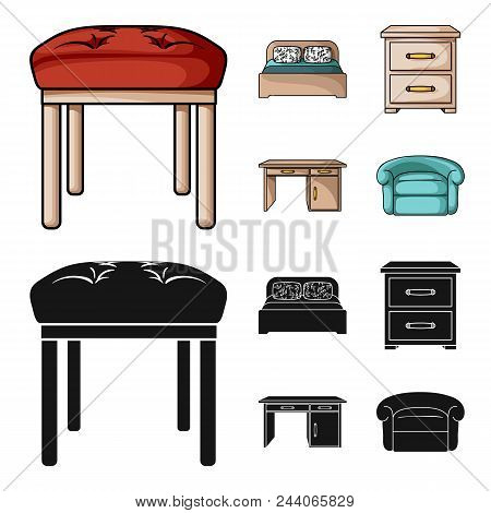 Interior, Design, Bed, Bedroom .furniture And Home Interiorset Collection Icons In Cartoon, Black St