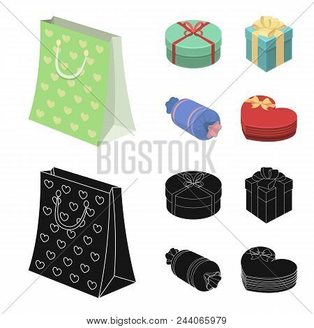 Gift Box With Bow, Gift Bag.gifts And Certificates Set Collection Icons In Cartoon, Black Style Vect