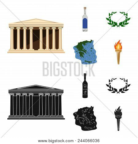 Greece, Country, Tradition, Landmark .greece Set Collection Icons In Cartoon, Black Style Vector Sym
