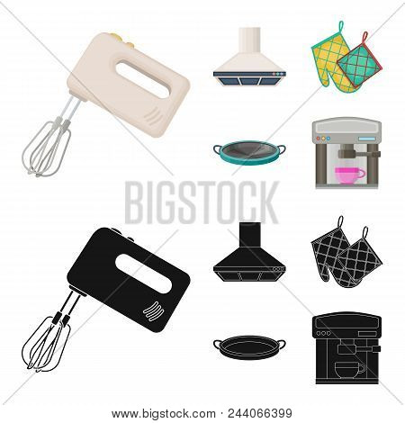 Kitchen Equipment Cartoon, Black Icons In Set Collection For Design. Kitchen And Accessories Vector