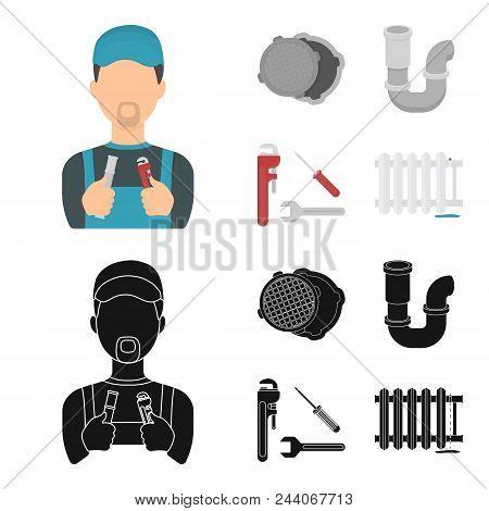 Sewage Hatch, Tool, Radiator.plumbing Set Collection Icons In Cartoon, Black Style Vector Symbol Sto