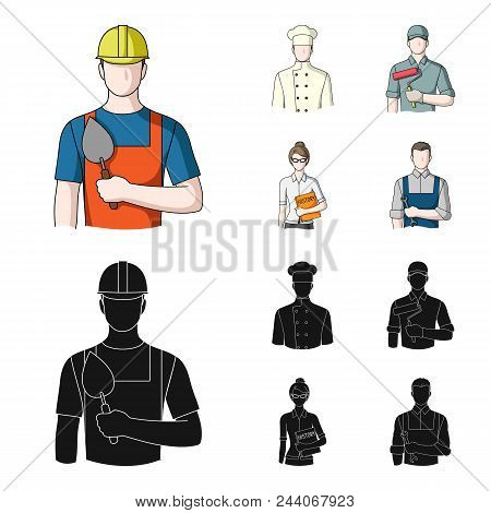 Cook, Painter, Teacher, Locksmith Mechanic.profession Set Collection Icons In Cartoon, Black Style V