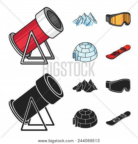 Mountains, Goggles, An Igloo, A Snowboard. Ski Resort Set Collection Icons In Cartoon, Black Style V