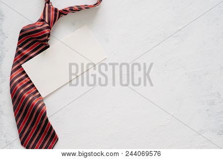 Flatlay Image Of Gift Box, Necktie And Blank Card. Father's Day Concept