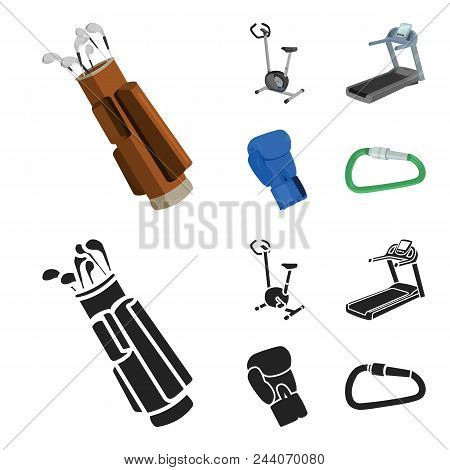 Exercise Bike, Treadmill, Glove Boxer, Lock. Sport Set Collection Icons In Cartoon, Black Style Vect