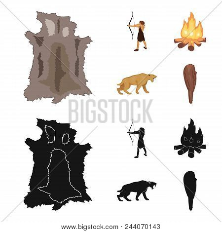 Man, Hunter, Onion, Bonfire .stone Age Set Collection Icons In Cartoon, Black Style Vector Symbol St