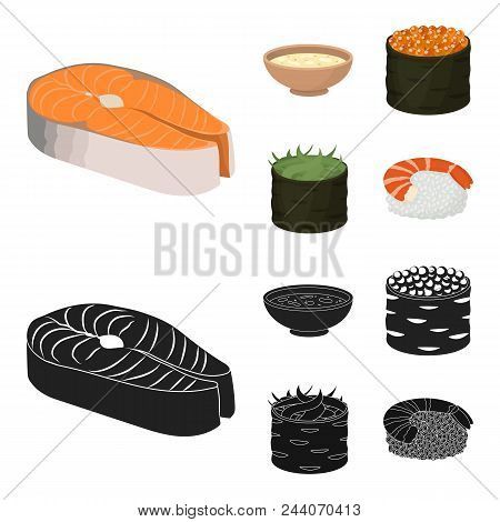 Bowl Of Soup, Caviar, Shrimp With Rice. Sushi Set Collection Icons In Cartoon, Black Style Vector Sy