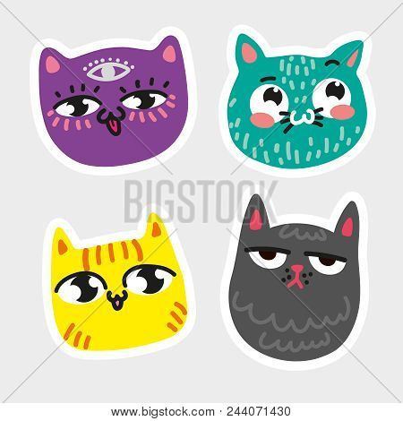 Cat Icon Collection Quad Colorful Isolated Cat Stickers Striped Yellow Cat Purple Cat With Eye In Fo