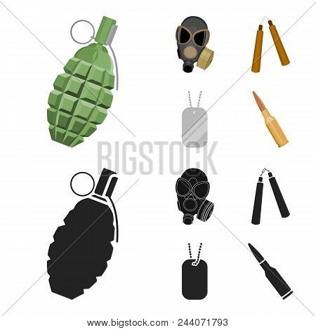 Gas Mask, Nunchak, Ammunition, Soldier Token. Weapons Set Collection Icons In Cartoon, Black Style V
