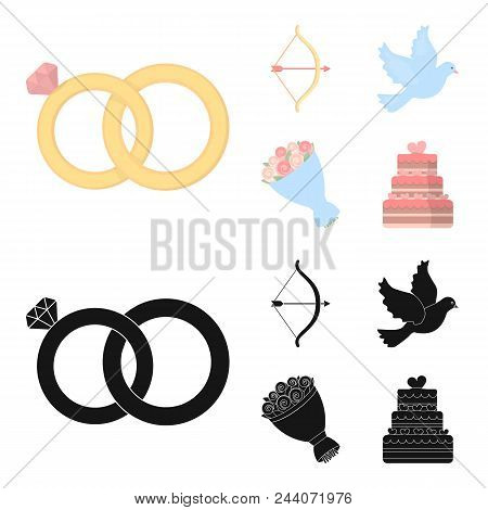 Arrow Cupid, Dove, Bouquet Of Flowers, Wedding Cake. Wedding Set Collection Icons In Cartoon, Black
