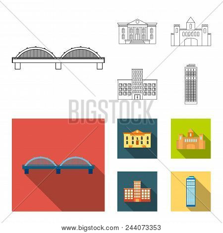 Museum, Bridge, Castle, Hospital.building Set Collection Icons In Outline, Flat Style Vector Symbol