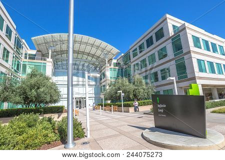 Cupertino, Ca, United States - August 15, 2016: The Apple World Headquarters At One Infinite Loop In