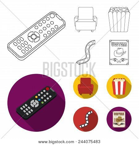 Control Panel, An Armchair For Viewing, Popcorn.films And Movies Set Collection Icons In Outline, Fl