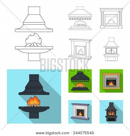 Fire, Warmth And Comfort.fireplace Set Collection Icons In Outline, Flat Style Vector Symbol Stock I