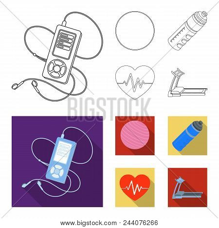 Player, A Bottle Of Water And Other Equipment For Training.gym And Workout Set Collection Icons In O