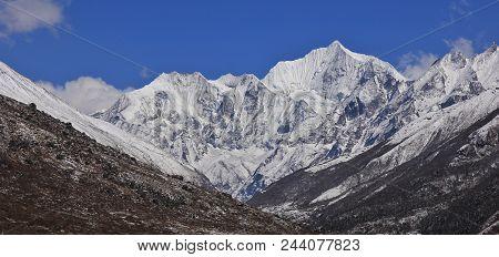 Mount Gangchenpo In Spring. Mountain Of The Langtang Himal Range, Nepal.