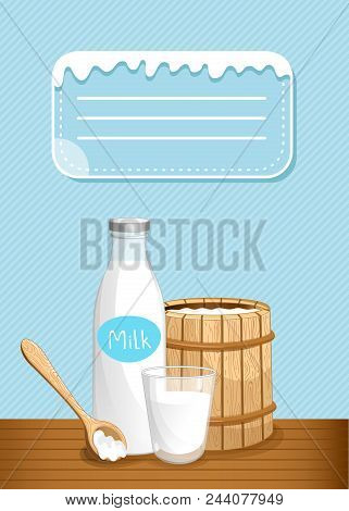 Dairy Banner With Milk Products. Natural Organic Dairy Product, Fresh And Healthy Farm Food Concept.