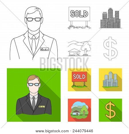 Employee Of The Agency, Sold, Metropolis, Country House. Realtor Set Collection Icons In Outline, Fl