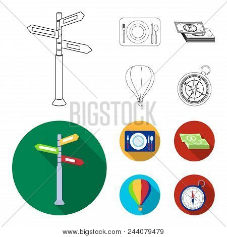 Vacation, Travel, Pointer, Way, Navigation .rest And Travel Set Collection Icons In Outline, Flat St