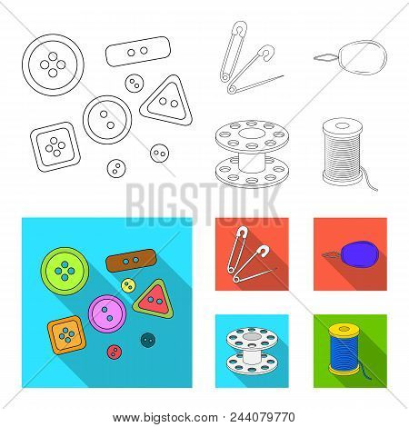 Buttons, Pins, Coil And Thread.sewing Or Tailoring Tools Set Collection Icons In Outline, Flat Style