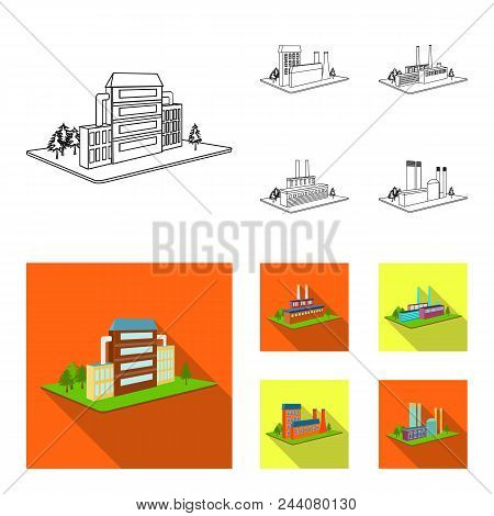 Processing Factory, Metallurgical Plant. Factory And Industry Set Collection Icons In Outline, Flat