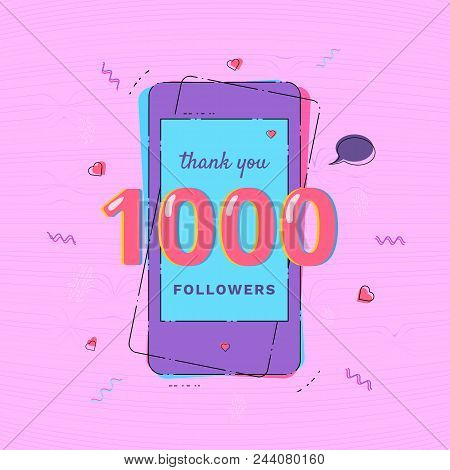 1000 Followers Thank You Card With Phone Template For Social Media Post. Glitch Chromatic Aberration