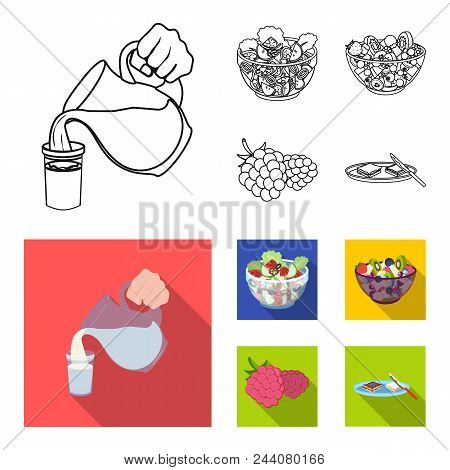 Fruit, Vegetable Salad And Other Types Of Food. Food Set Collection Icons In Outline, Flat Style Vec