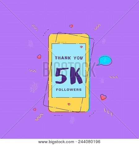 5k Followers Thank You Card With Phone. Template For Social Media Post. Glitch Chromatic Aberration