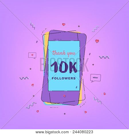 10k Followers Thank You Card With Phone. Template For Social Media Post. Glitch Chromatic Aberration