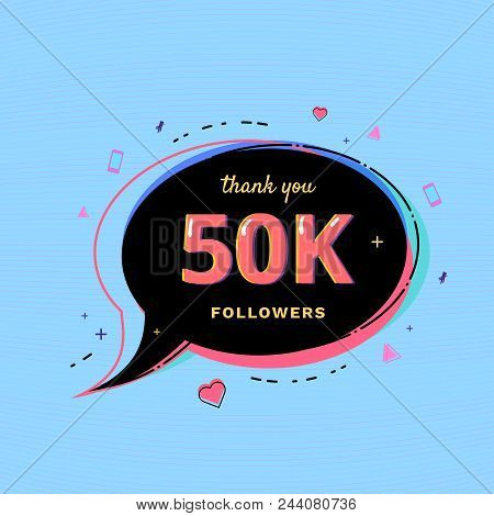 50k Followers Thank You Message With Speech Bubble And Random Items. Template For Social Media Post.