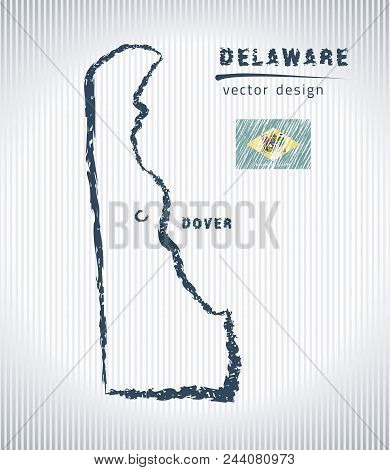 Delaware Vector Chalk Drawing Map Isolated On A White Background