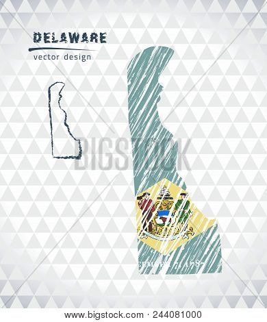 Map Of Delaware With Hand Drawn Sketch Pen Map Inside. Vector Illustration