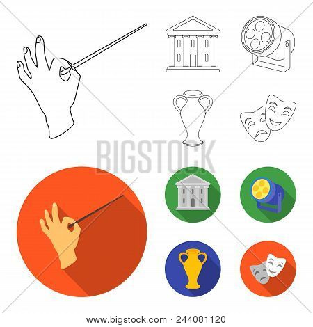 Conductor Baton, Theater Building, Searchlight, Amphora.theatre Set Collection Icons In Outline, Fla