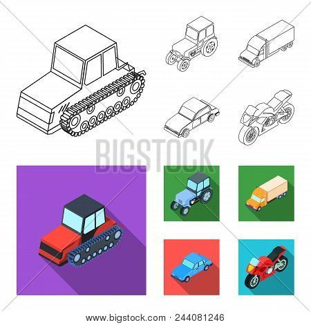 Tractor, Caterpillar Tractor, Truck, Car. Transport Set Collection Icons In Outline, Flat Style Vect