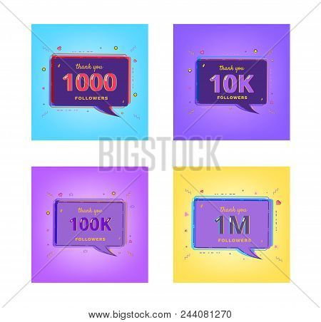 Thank You Followers Banners. Set Of Card For Social Media Networks. 1000, 10k, 100k, 1m Followers. T