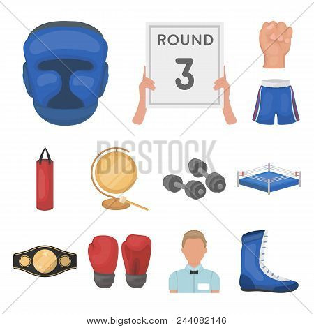 Boxing Extreme Sports Cartoon Icons In Set Collection For Design. Boxer And Attributes Vector Symbol