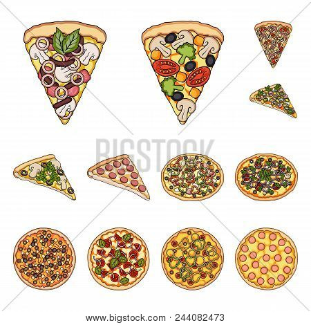 Different Pizza Cartoon Icons In Set Collection For Design.pizza Food Vector Symbol Stock  Illustrat